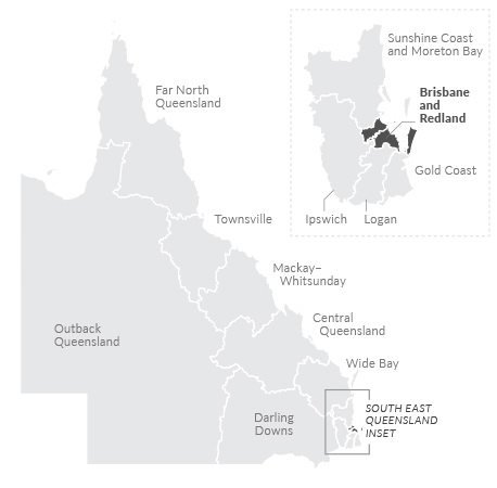 Map of Brisbane and Redland region