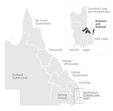 Map of Brisbane and Redland region
