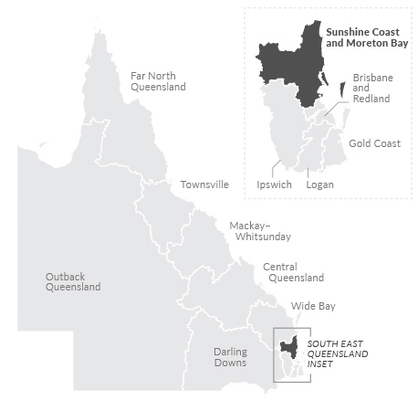 Maps of Sunshine Coast and Moreton region