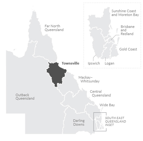 Map of Townsville region